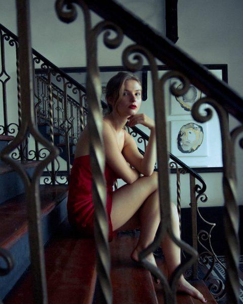 Stefanie Scott in little red dress shows her sexy legs