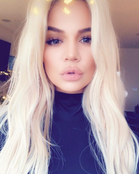 reality TV star Khloe Kardashian with long blonde hair