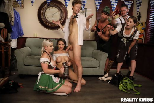 Emily Right in dirndl & Pristine Edge get jizzed on at Oktoberfest party