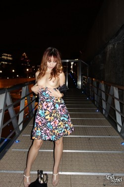 Ariel Rebel flashing her tits in public after a party