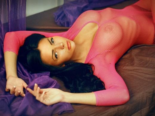 MFC OnePrettyGrl in pink fishnet dress