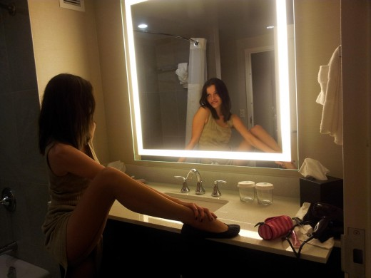 Angel______ from MyFreeCams in front of mirror wearing pantyhose