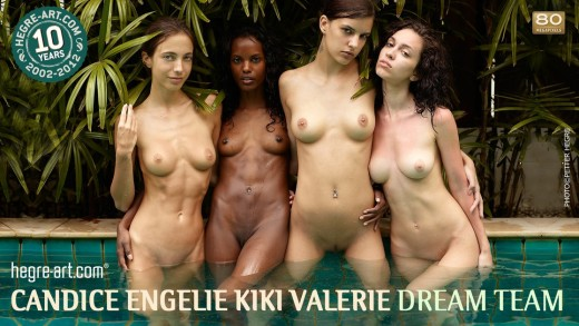 Candice, Engelie, Kiki & Valerie nude & wet in pool | Hegre Art