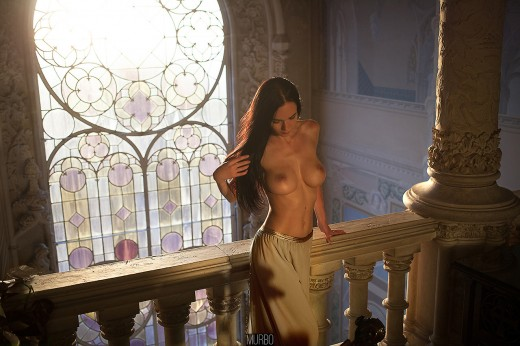 Martz posing topless in Bussaco Palace, Portugal by Murbo
