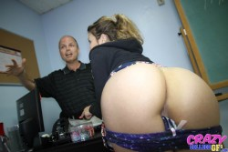 Carmen Caliente with bare ass at school | CrazyCollegeGFs