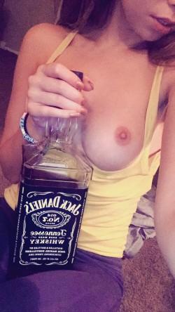 Melissa Moore topless & drinking