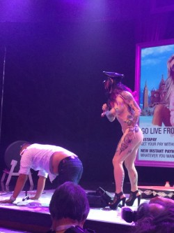 Joanna Angel dealing with naughty boy on AVN stage