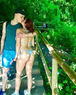 Ariel Winter in G-string bikini kissing BF