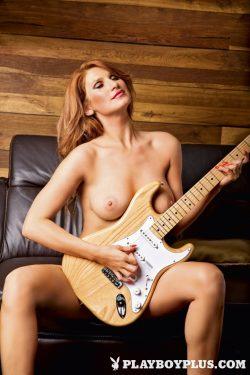 singer Kataya from Slovenia plays guitar nude for Playboy