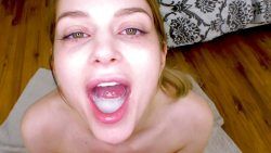 Nadya Nabakova has mouth full of cum