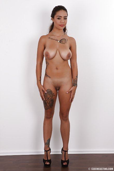 inked Czech girl Miroslava (3835) totally naked showing her tan lines