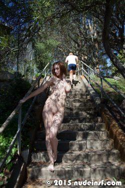 Adriana nude in public
