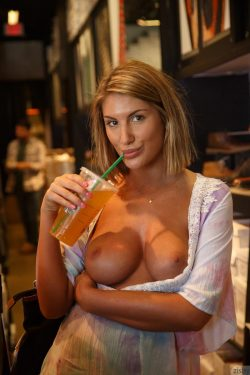 August Ames flashes boobs in shop | Zishy