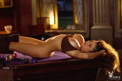 Playboy Playmate of the Month March 2001 Miriam Gonzalez naked on top of pool table
