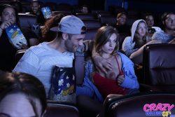 Sydney Cole flashes boob in cinema
