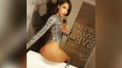selfie by EvaDevine in thong leotard