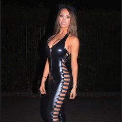 Jess Greenberg in black sexy latex outfit