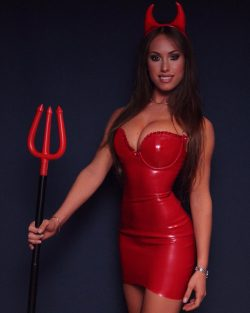 Jess Greenberg is sexy devil for Halloween