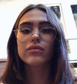 Amelia Gray wearing glasses