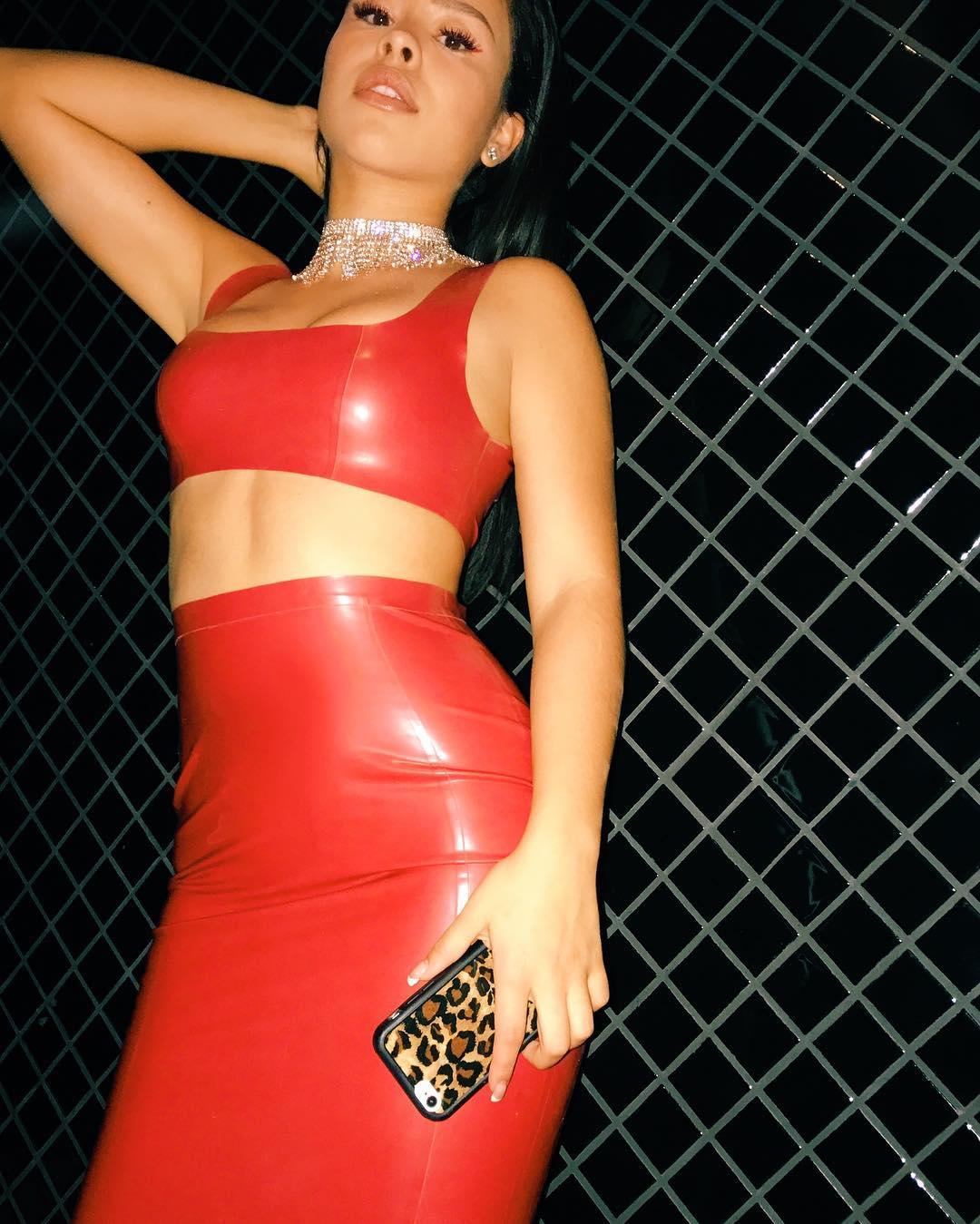 Cierra Ramirez in sexy red latex dress | NSFW Girls