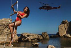 Irina Shayk in red swimsuit