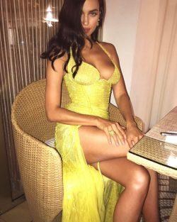 Irina Shayk sexy in yellow dress